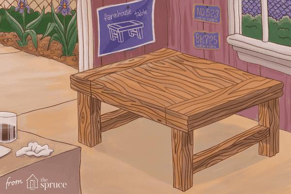 Illustration of a farmhouse table