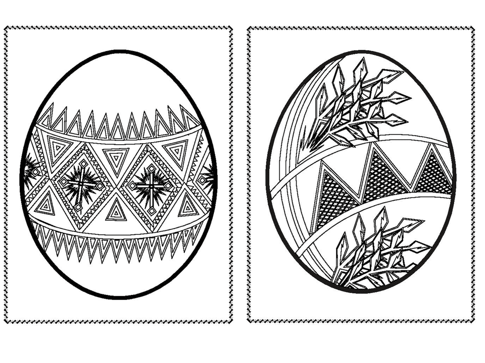 Two Easter eggs with intricate designs