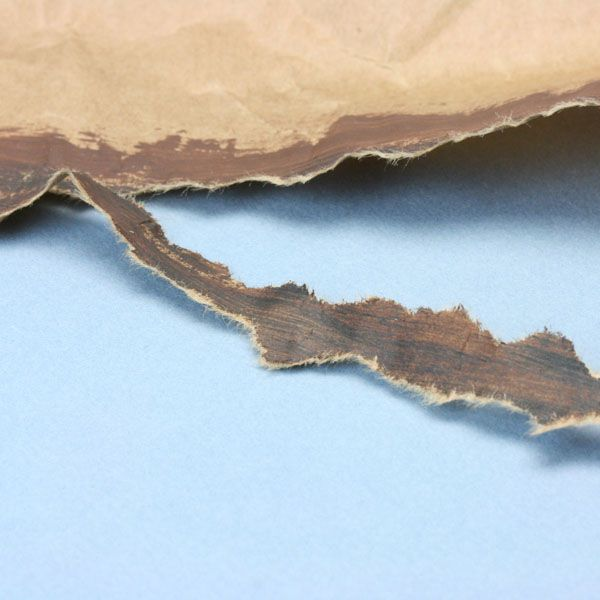 Tearing zig-zag sections of painted kraft paper