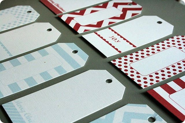 Christmas gift tags in red and blue.