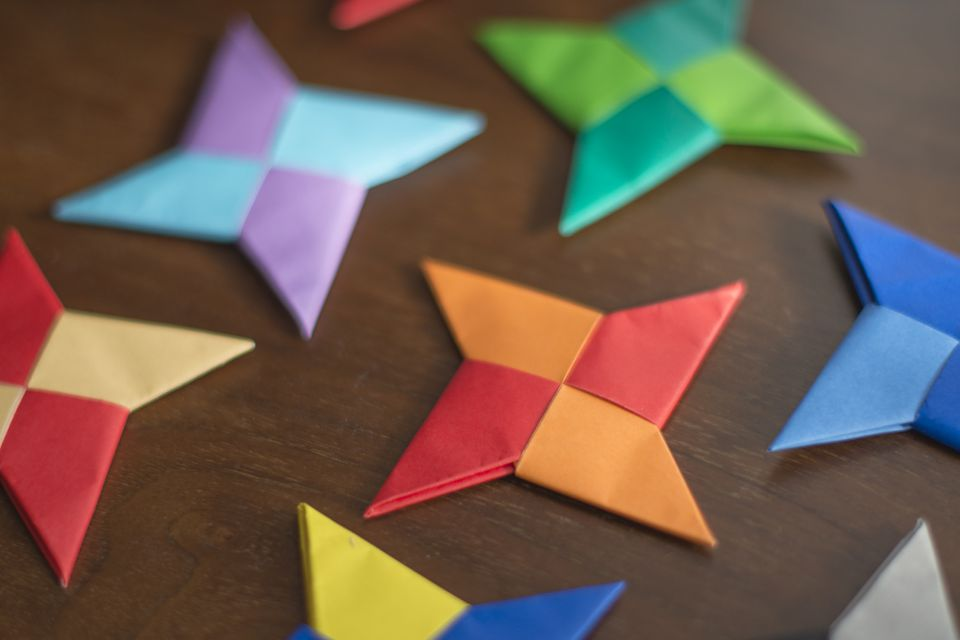 Multi-colored origami ninja stars