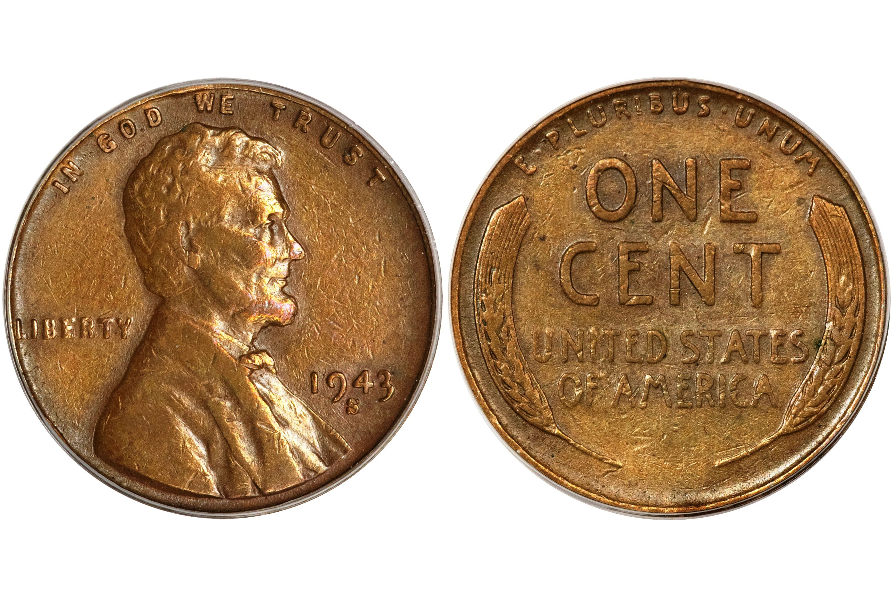 1943-S LINCOLN AU ALMOST UN-CIRCULATED STEEL ONE CENT===AU===STEEL===