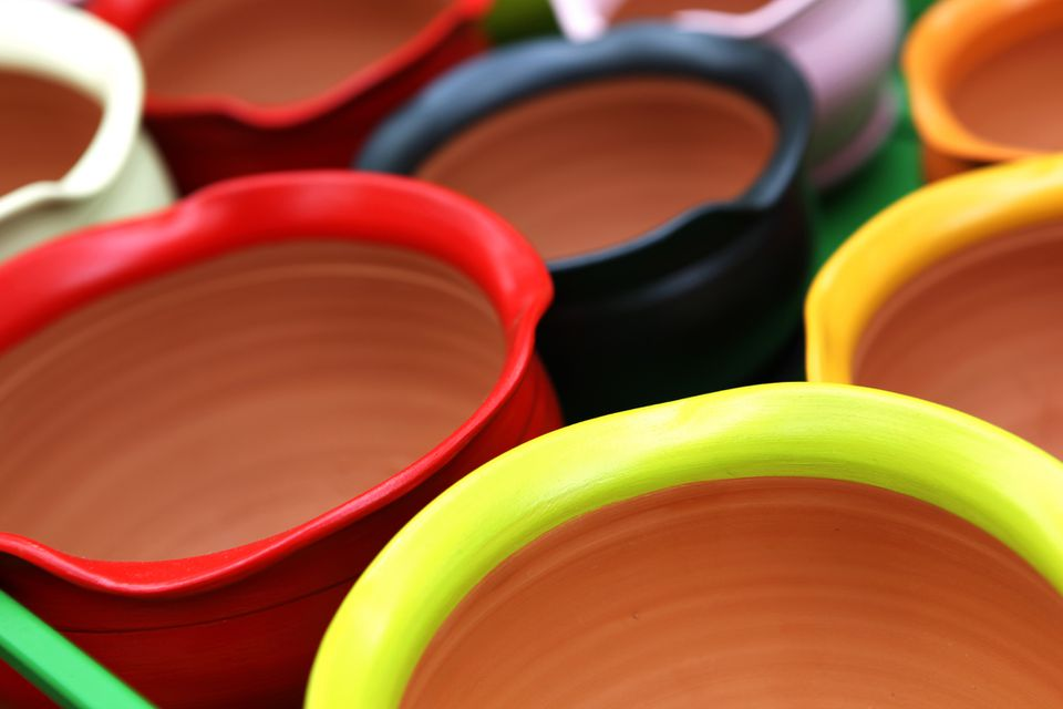 Close up of many painted terracotta pots