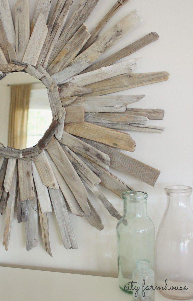 Driftwood starburst mirror