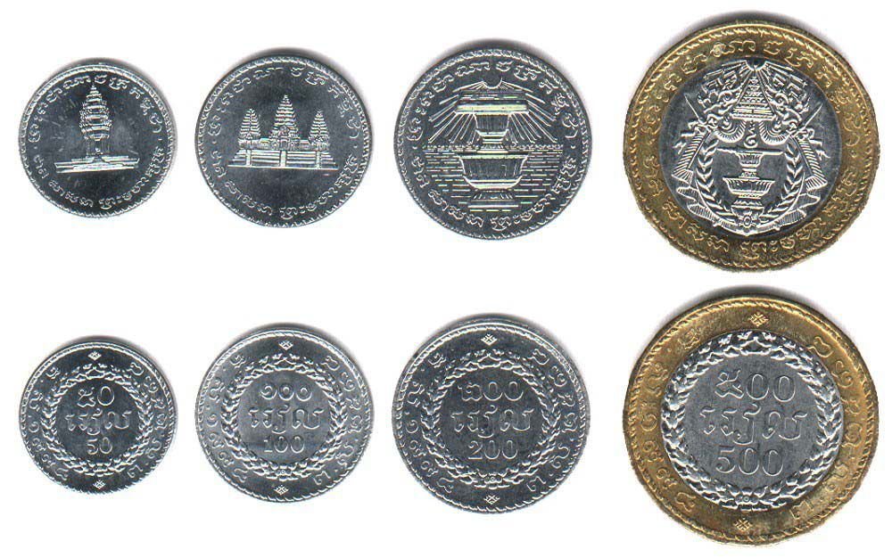 These coins are currently circulating in Cambodia as money.