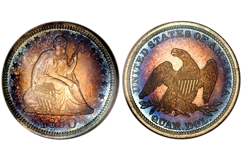 1850 Proof Liberty Seated Quarter