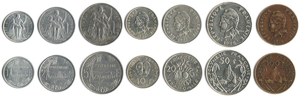 These coins are currently circulating in French Polynesia as money.
