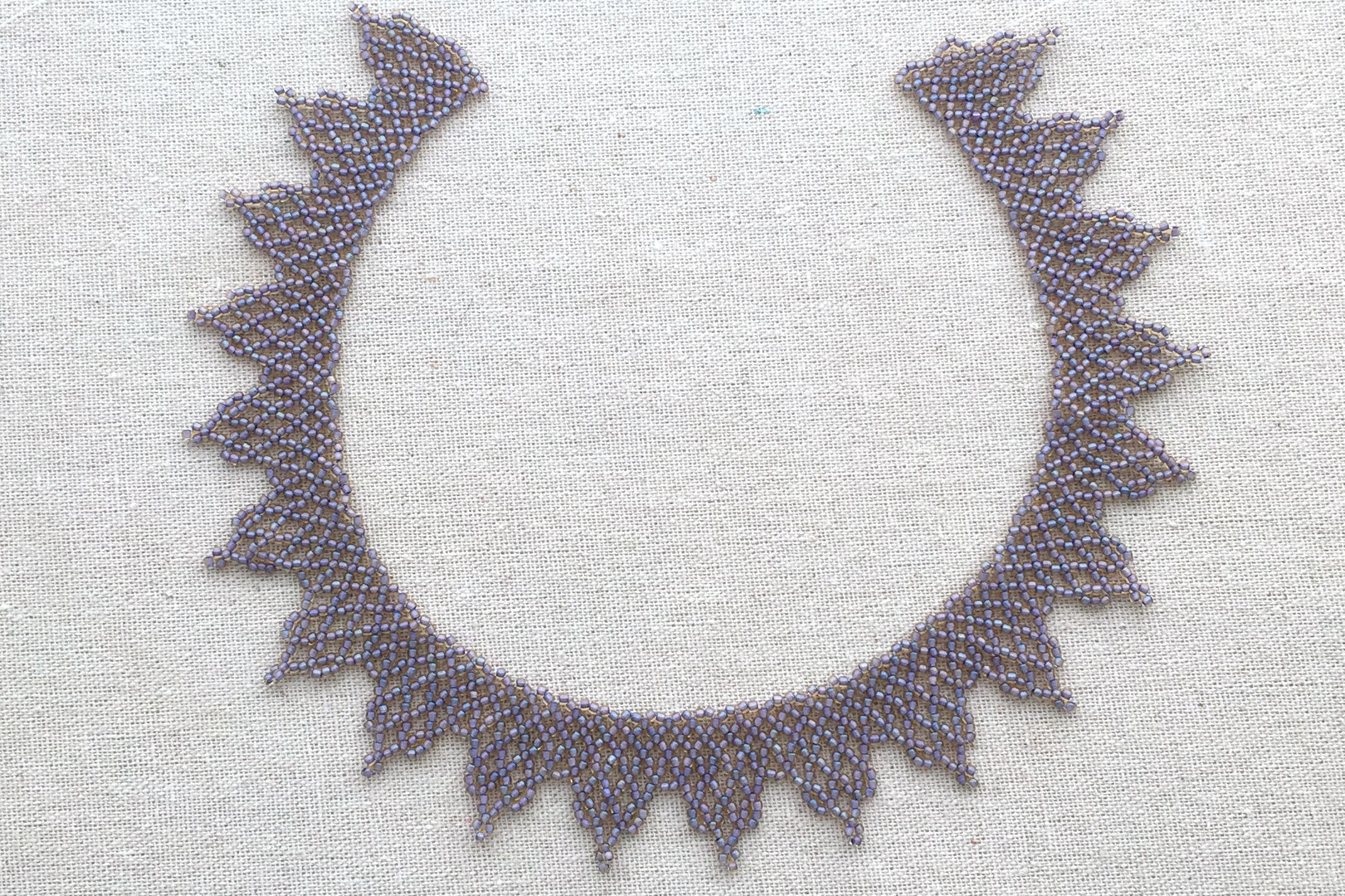 African Poren african netted beaded lace necklace tutorial