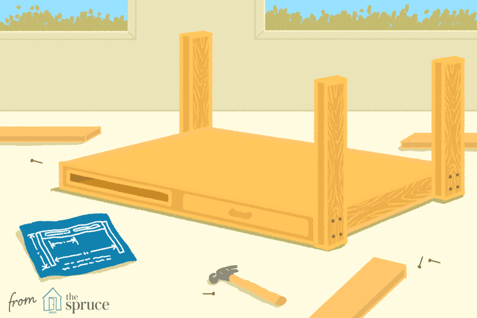 Illustration of work bench being built