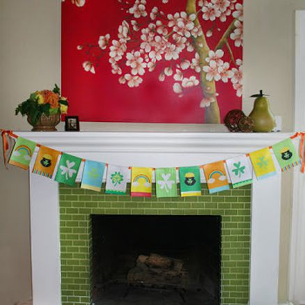 A St. Patrick's Day banner above a fireplace