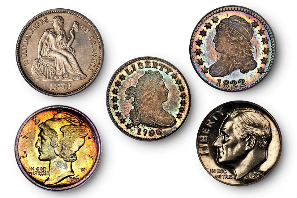 five of the most valuable United States dimes in the world