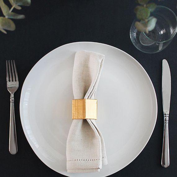 DIY Gold Geometric Napkin Ring