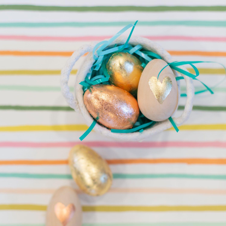 Metallic leaf Easter eggs