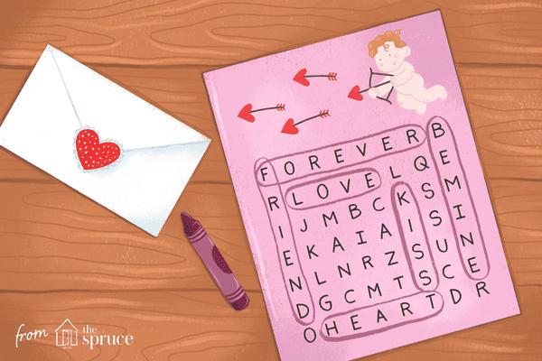 Illustration of Valentine's Day crossword