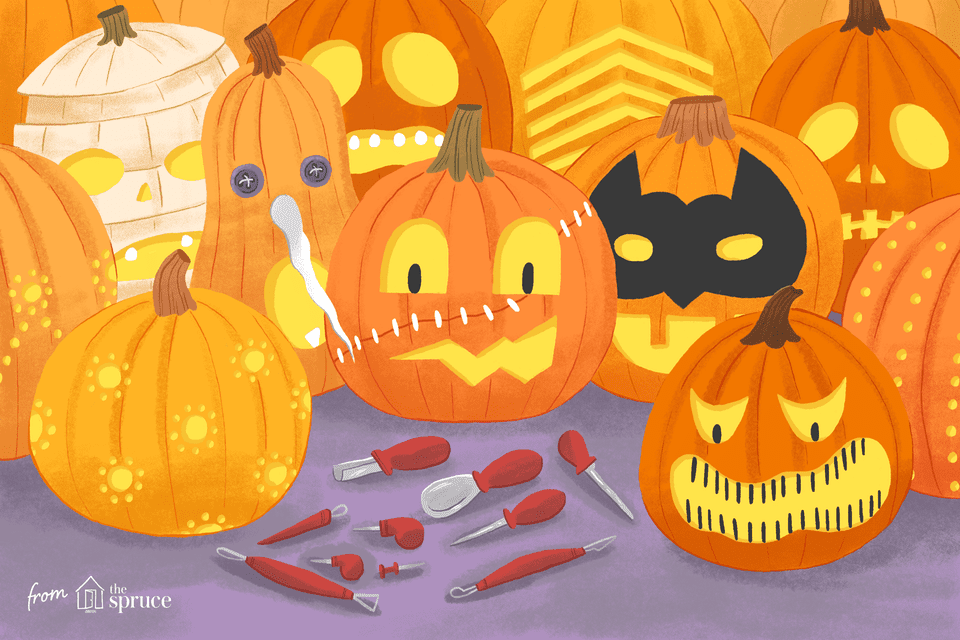 Illustration of differently carved pumpkins with tools in front of them