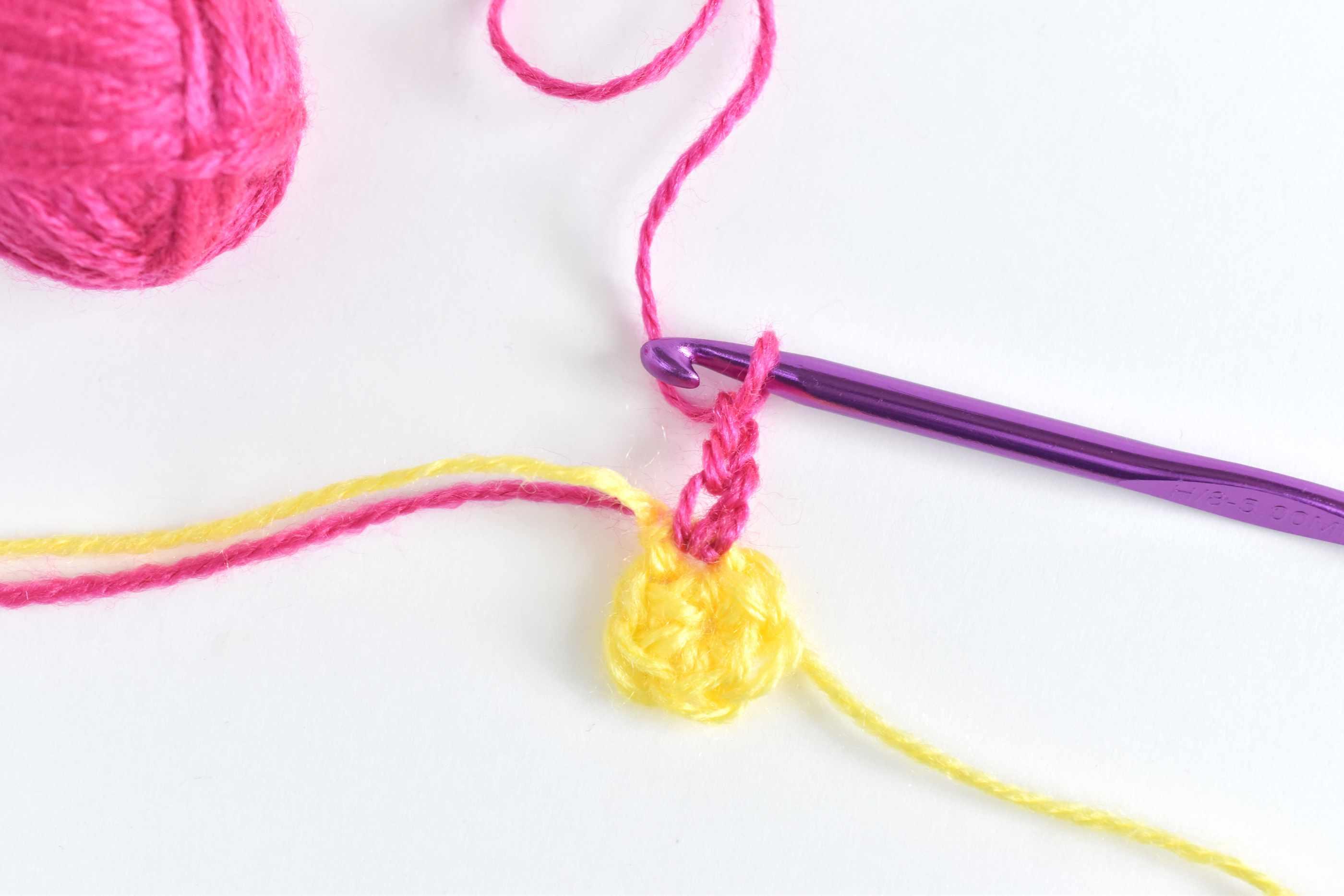 Chain 3 to start a puff stitch petal
