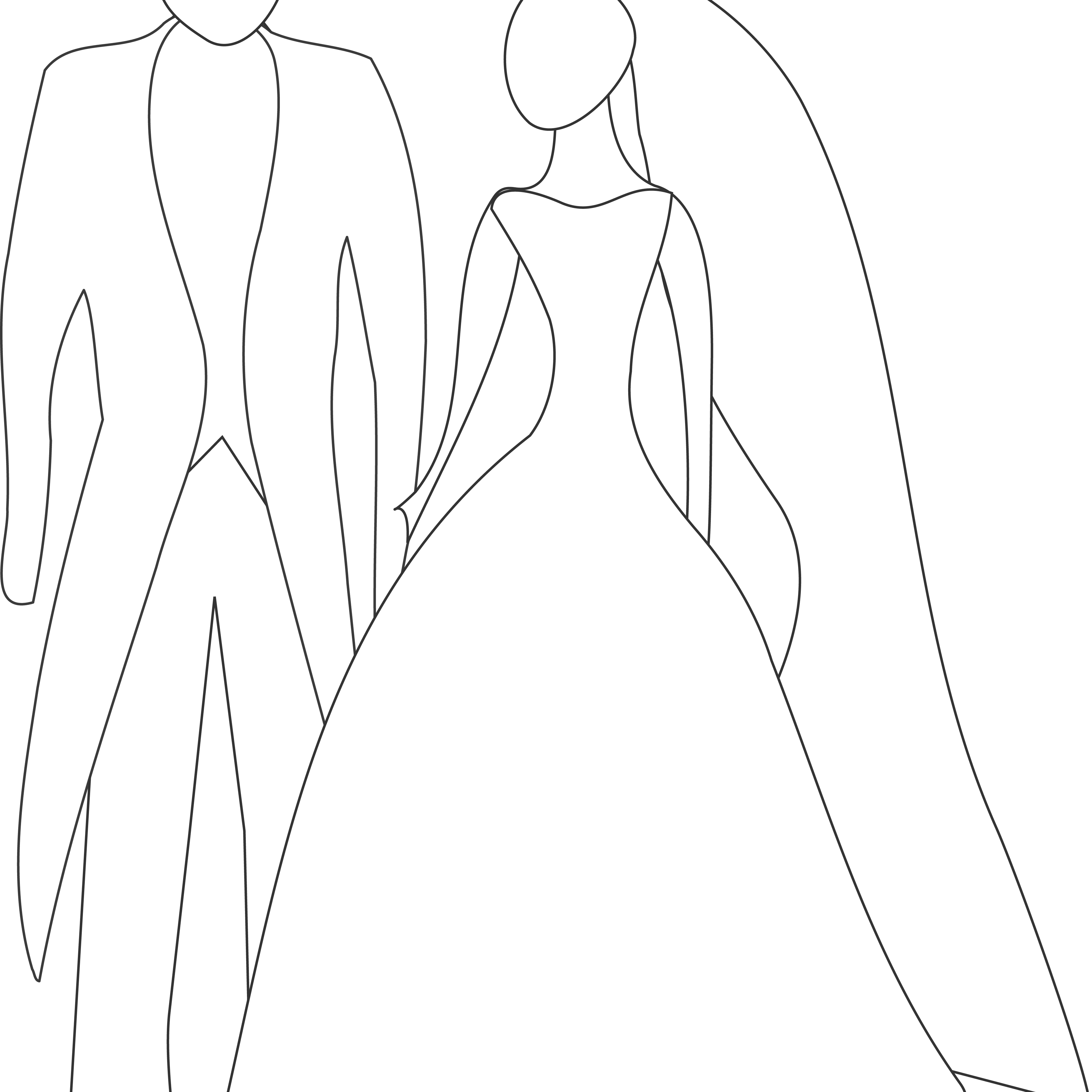 Stylized Bride and Groom