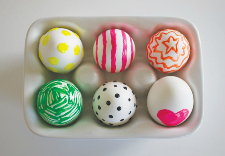 Neon Puffy Paint Easter Eggs