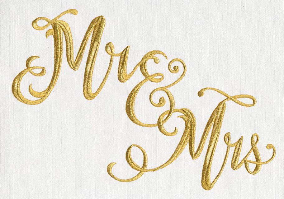 """Mr & Mrs"" embroidery script pattern"