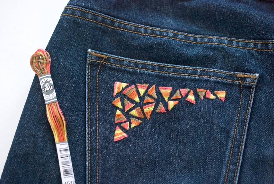 Embroidered Denim Pocket