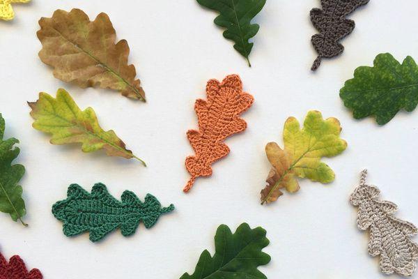 Oak leaves with crochet version