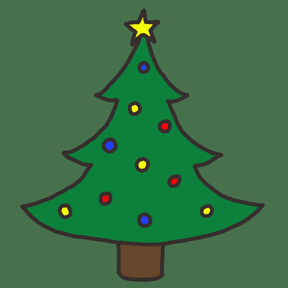 A cartoon Christmas tree with lights and a star