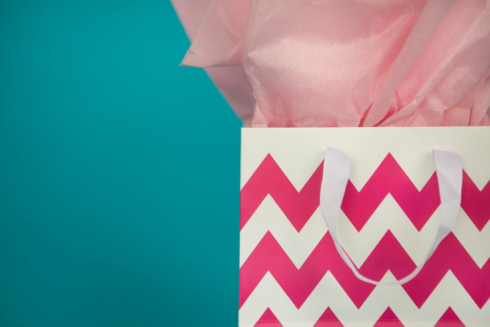 pink chevron gift bag