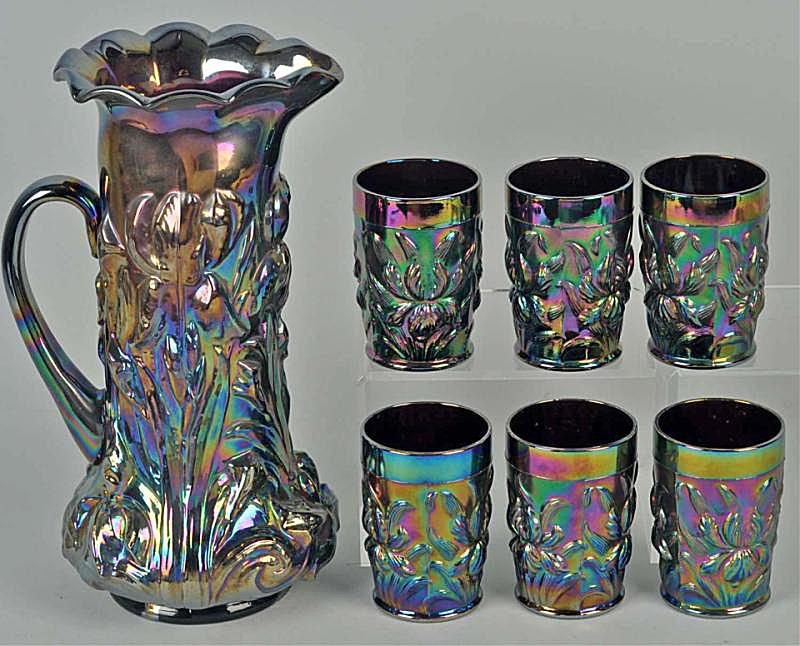 Carnival Glass Dugan Iris Tankard & Glass Set