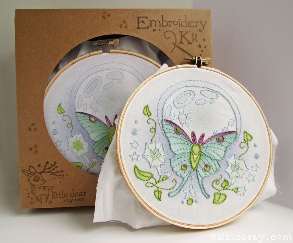Luna Moth Printed Embroidery Kit