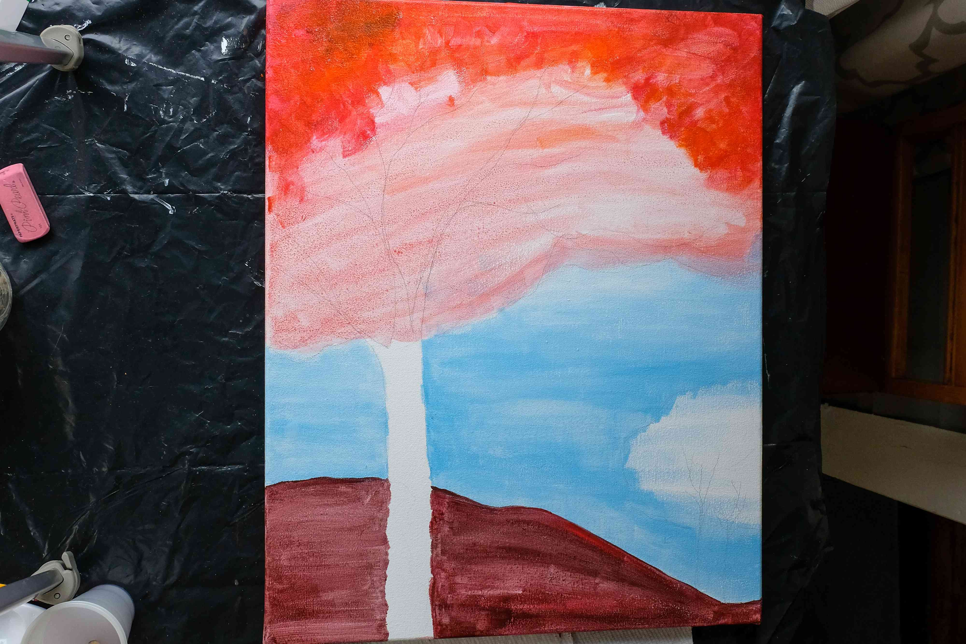 creating background of fall painting