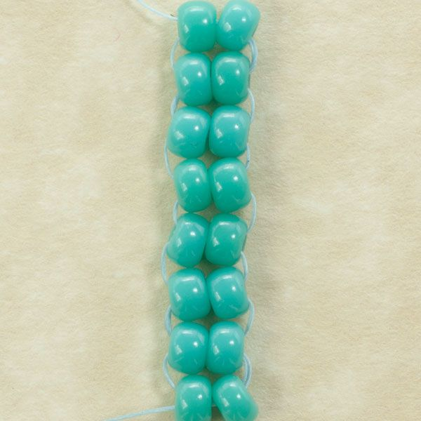 A swatch of beaded ladder stitch