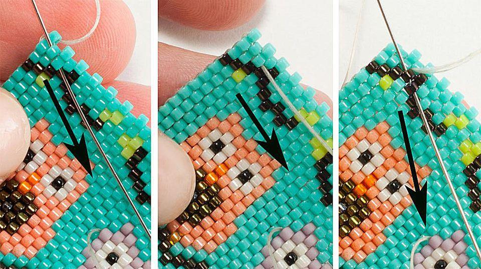 Beading needle weaving through peyote stitch beadwork