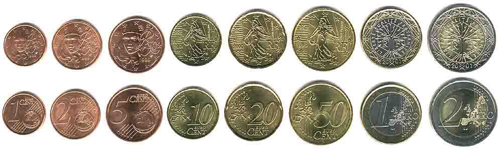 These coins are currently circulating in France as money.