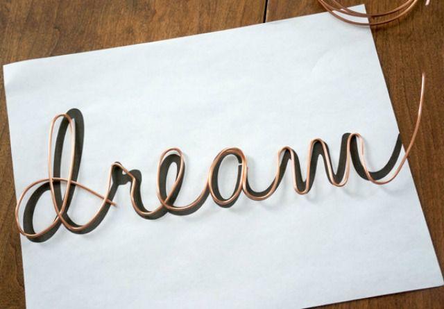 copper wire word art