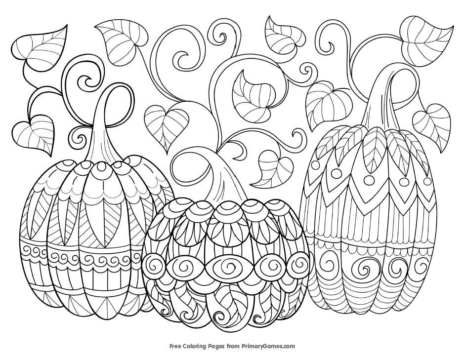 Three pumpkins with vines