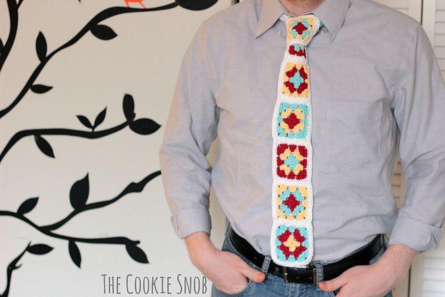 Granny Square Crochet Tie Free Pattern