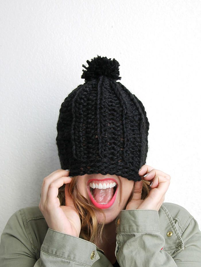 Chunky Ribbed Slouch Hat Free Crochet Pattern
