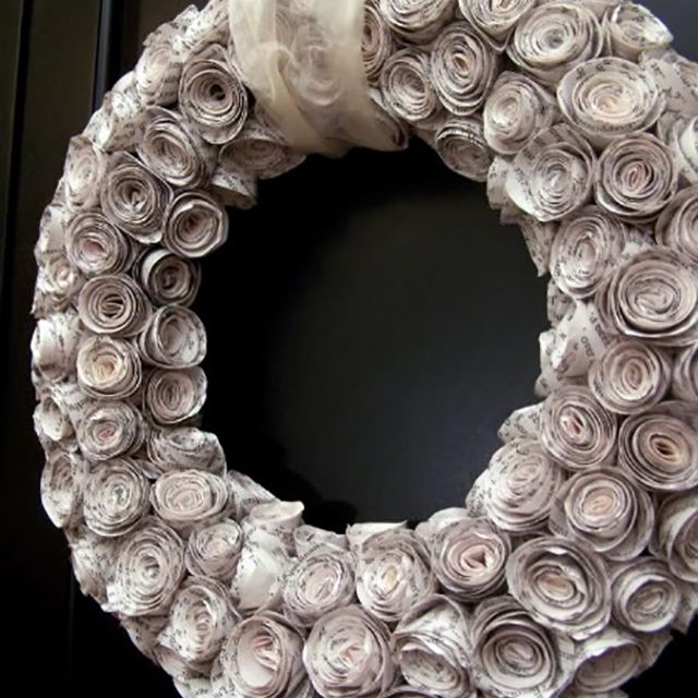 old book wreath