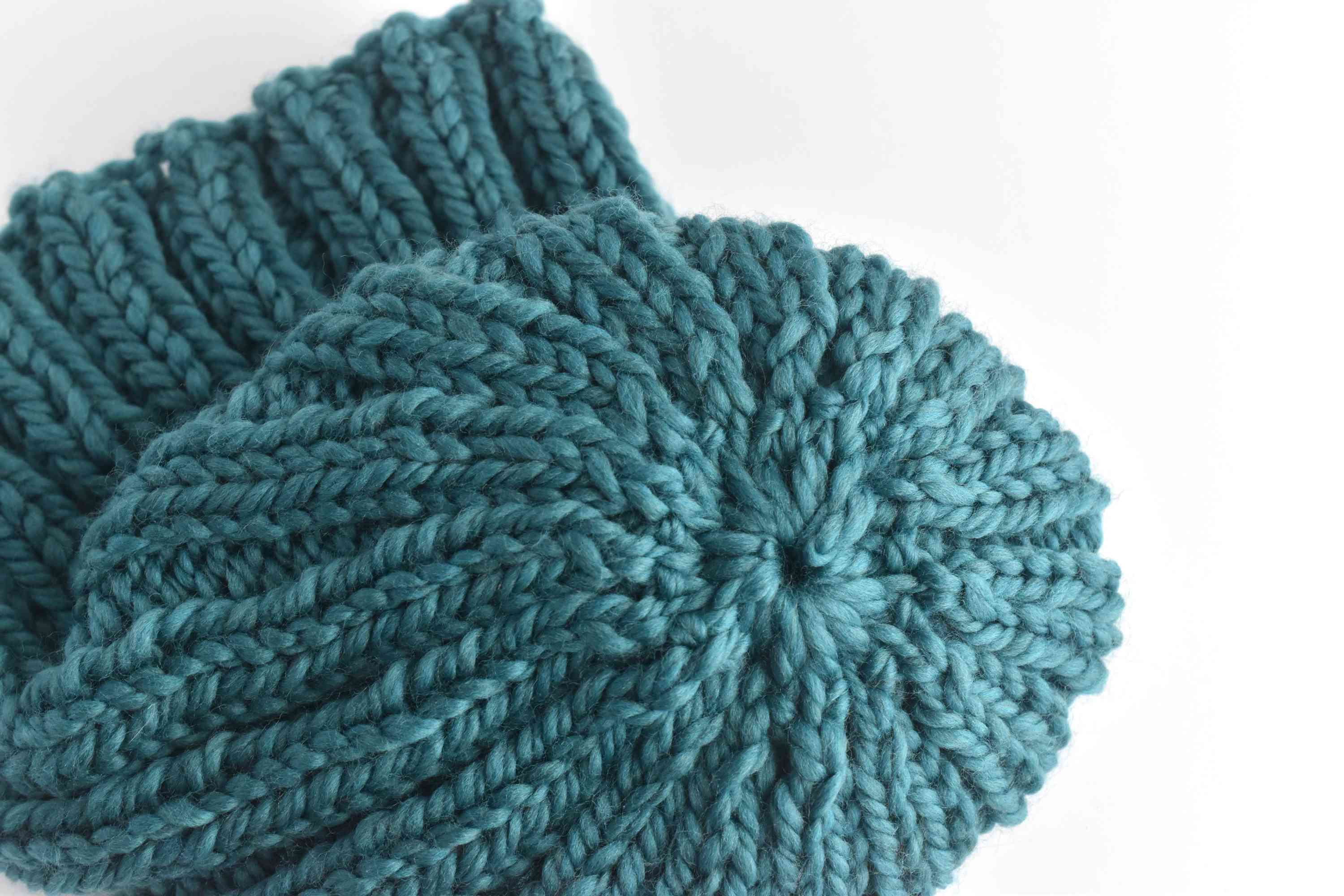 Top view of the hand knit ribbed beanie