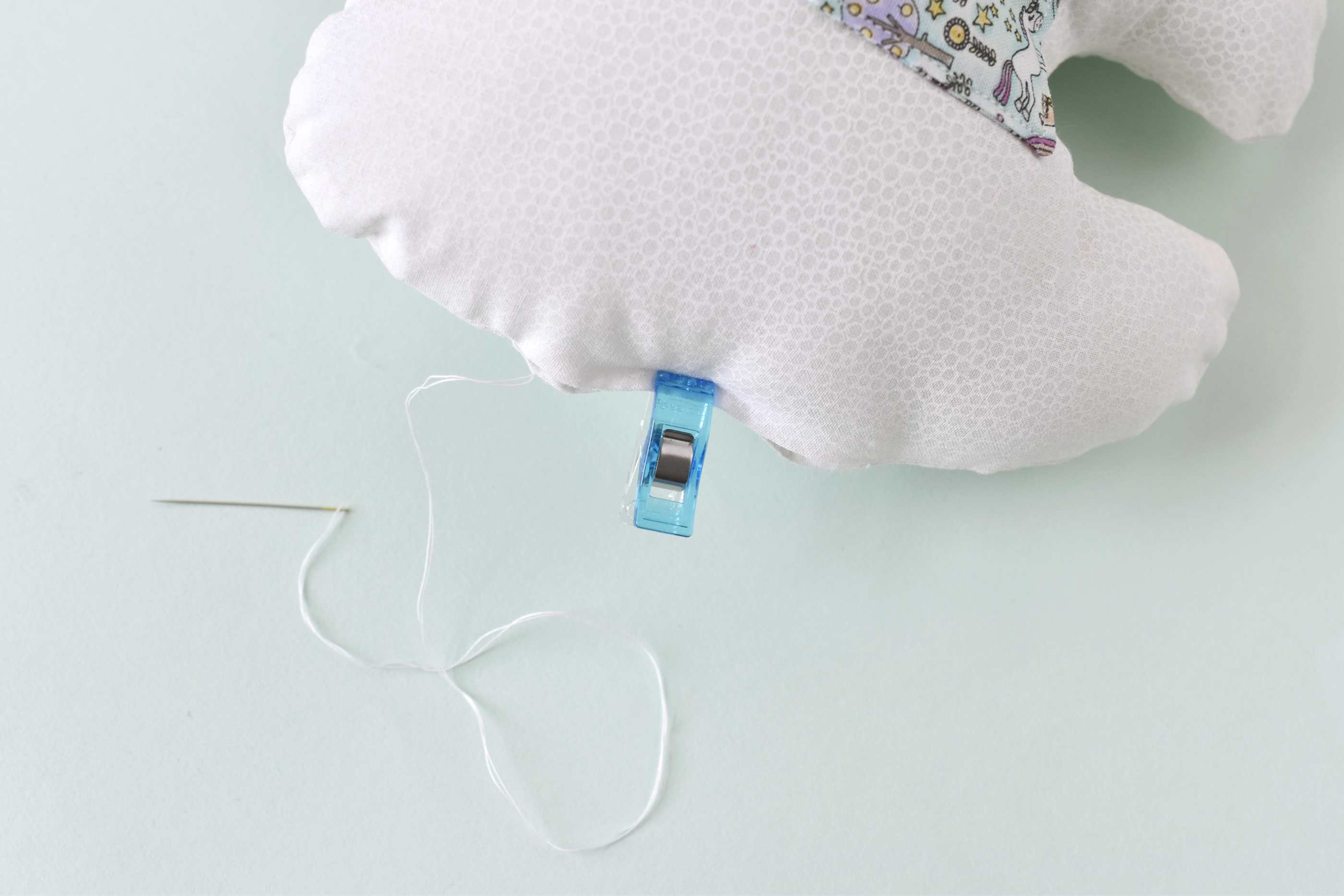 closing the opening of the tooth fairy pillow