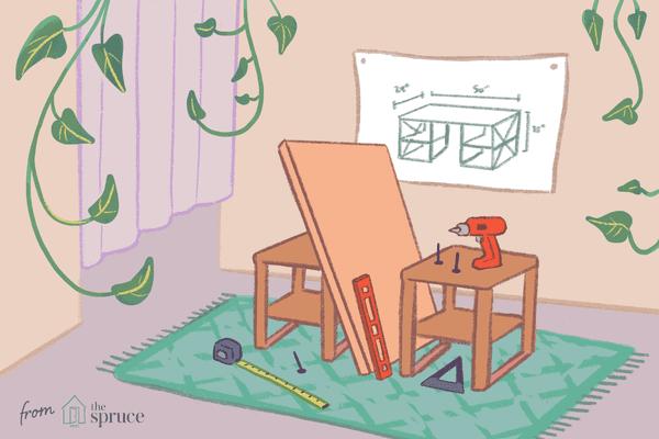 Illustration of a desk assembly
