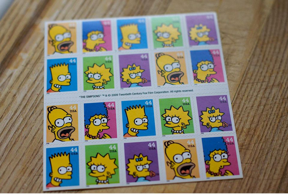 sheet of Simpsons stamps
