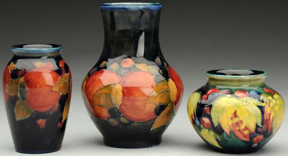 Three Moorcroft vases made in England