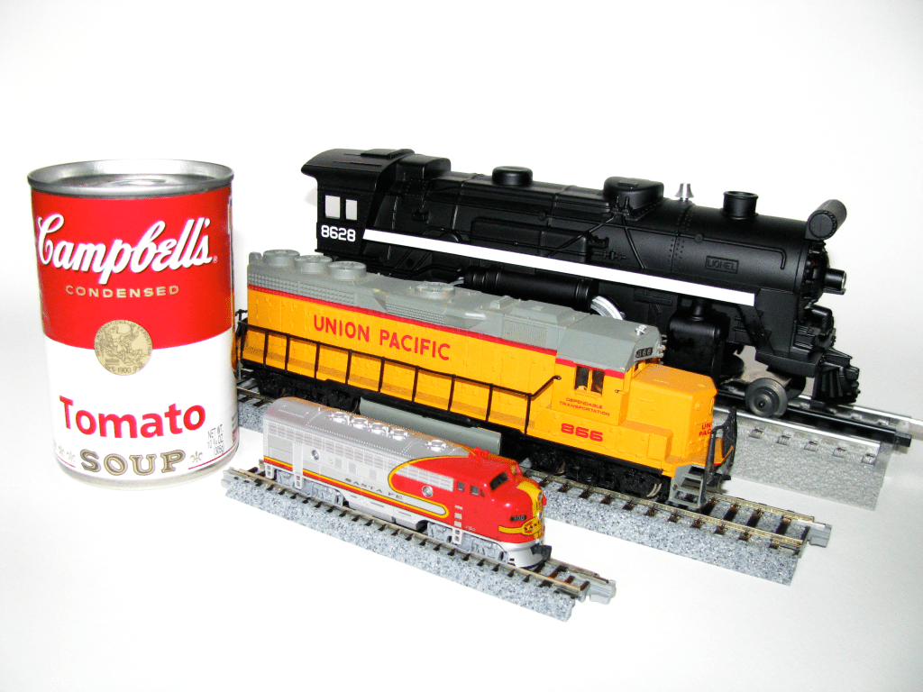 using can for scale of model trains
