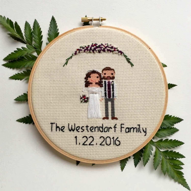 family wedding cross stitch