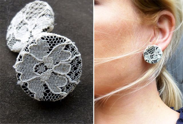 Lace covered button earring