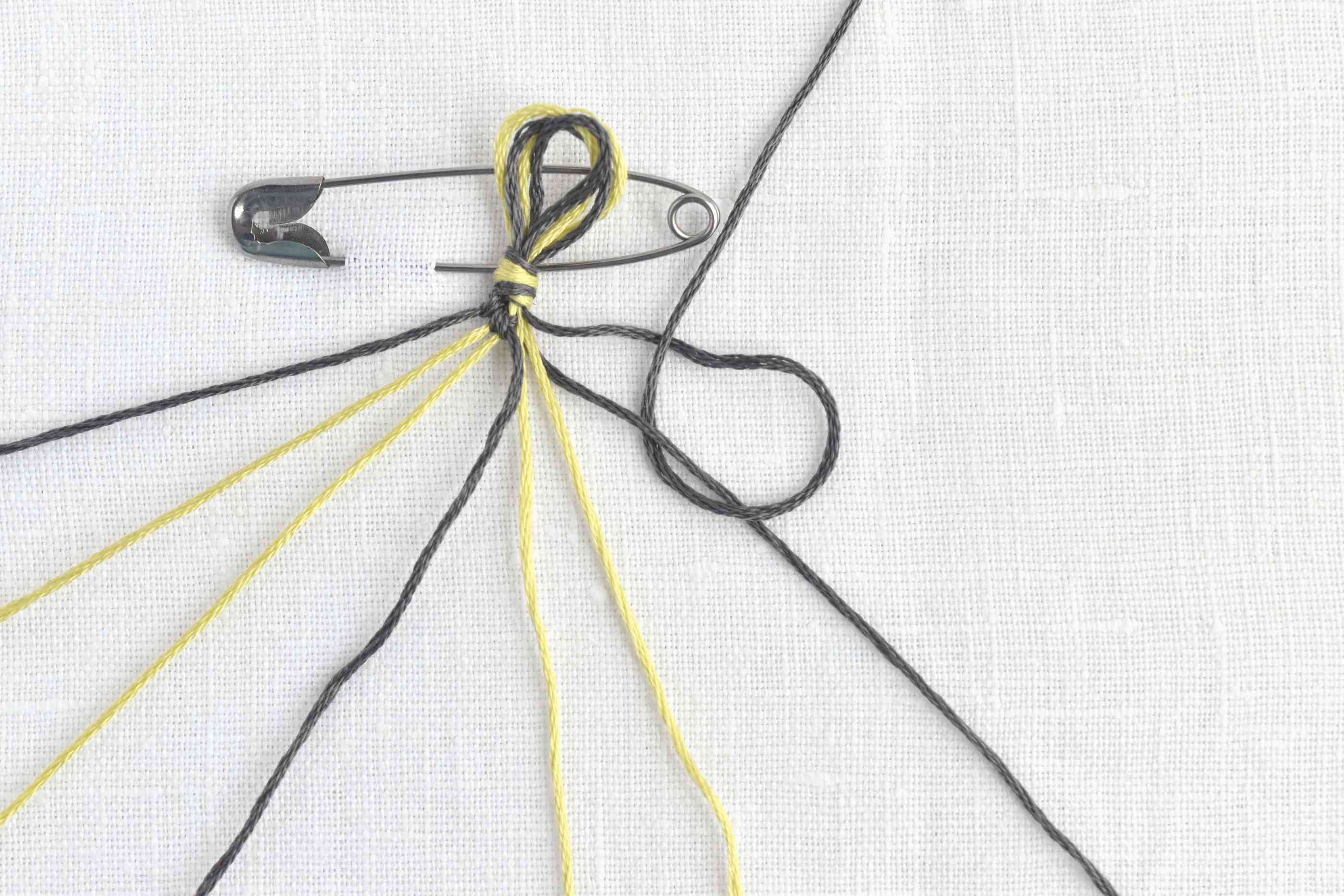 Bring the thread through the backwards 4 to finish the knot