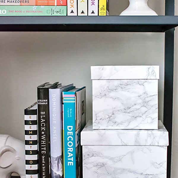 DIY Marble Contact Paper Decorative Boxes