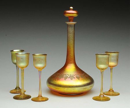 Tiffany Favrile Glassware Iridescent Art Glass