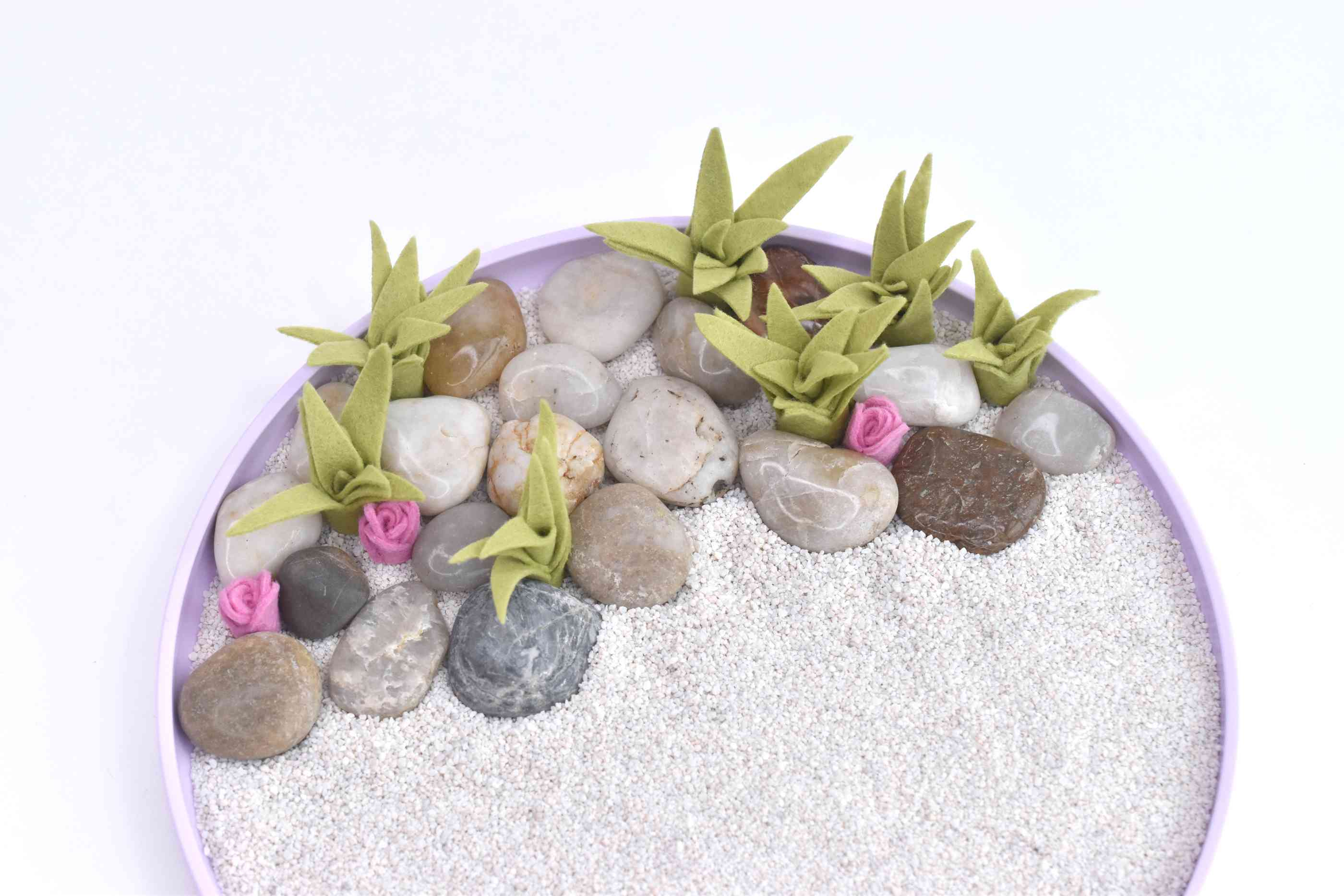 Place the Plants and Stones on One Side of the Tray